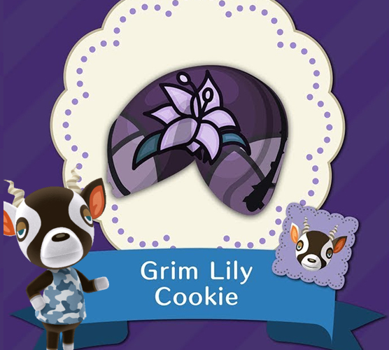 animal crossing pocket camp grim lily cookie