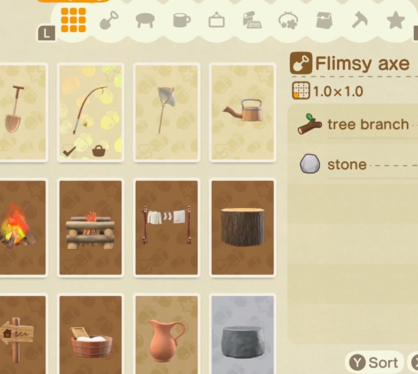 animal crossing new horizons crafting menu