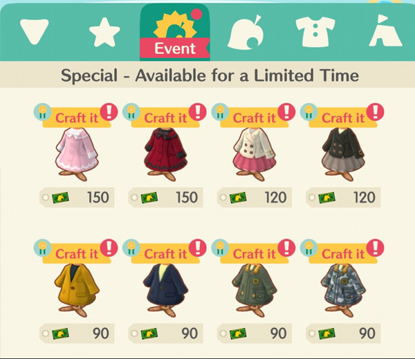 animal crossing pocket camp coat collection