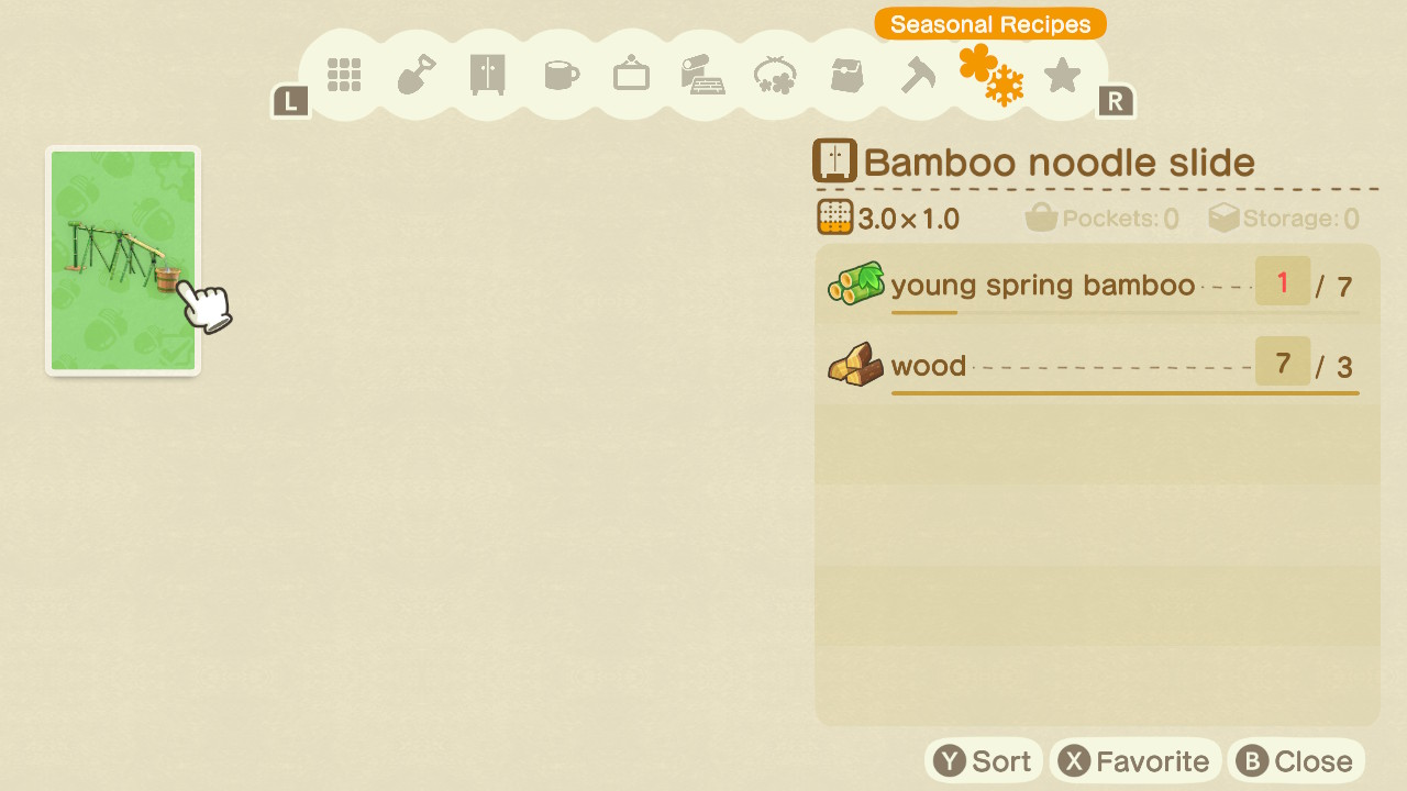 animal crossing new horizons bamboo noodle slide