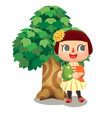 animal crossing girl with a pear in front of a tree