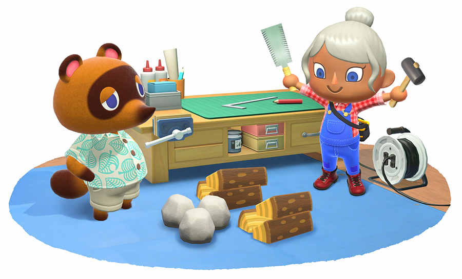 tom nook and villager by workbench